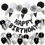 JOYMEMO Décorations de Fête d'anniversaire Noir et Argent pour Adultes avec Kit des Ballons, Décorations en Papier de Soie et Bannière de Triangle