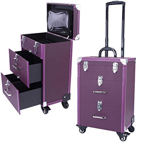 Qivange Professional Nail Polish Organizer, Large Makeup Train Case, Rolling Makeup Trolley Case PU Leather Artists Lockable Jewelry Travel Cosmetic Train Case w/ 4 Wheels, Purple