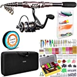 PLUSINNO Fishing Rod and Reel Combos, 302Pcs Fishing Lures,Saltwater Freshwater Resistant Fishing Gear