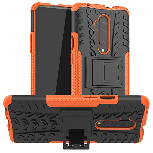 OnePlus 7T Pro Case, Ankoe Heavy Duty Hybrid Slim Dual Layer Rugged Rubber Hybrid Hard/Soft Impact Armor Defender Protective Case with Kickstand for OnePlus 7T Pro (Orange)