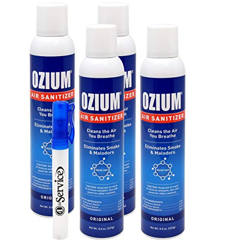 Ozium Air Sanitizer Spray - Glycolized Air Freshener Reduces Airborne Bacteria Eliminates Smoke & Malodors 8oz Spray Air Freshener, Original (4 Pack)