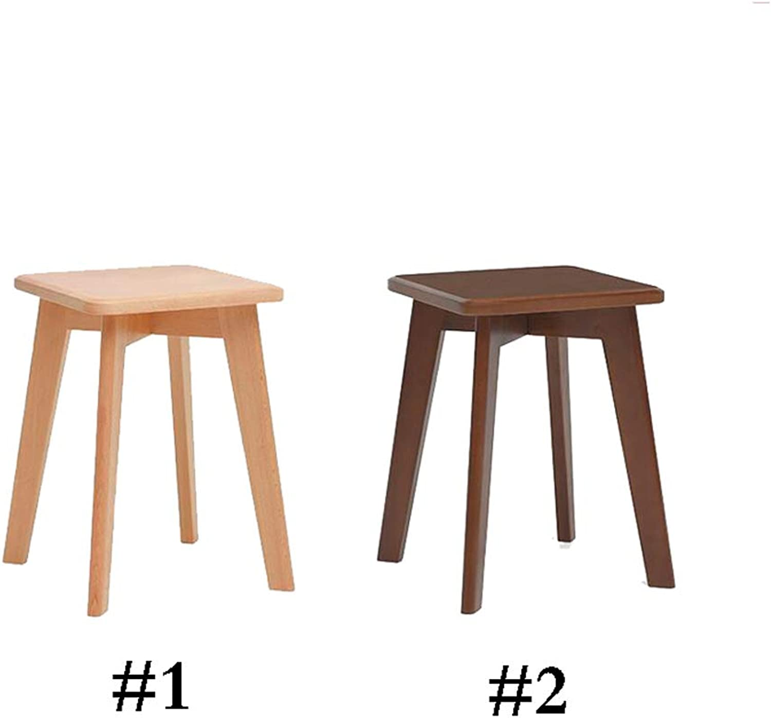 Square Stool Solid Wood Sofa Stool Change shoes Stool Fashion Set for Dining Table Home Change shoes Two color Optional (color   Suit)