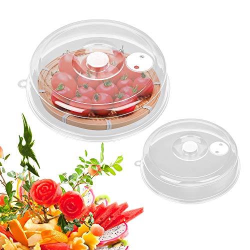 Lot de 6 couvercles transparents de conservation des aliments pour ustensiles de cuisine pour four à micro-ondes - Diamètre : 23 cm - Blanc/6 pièces