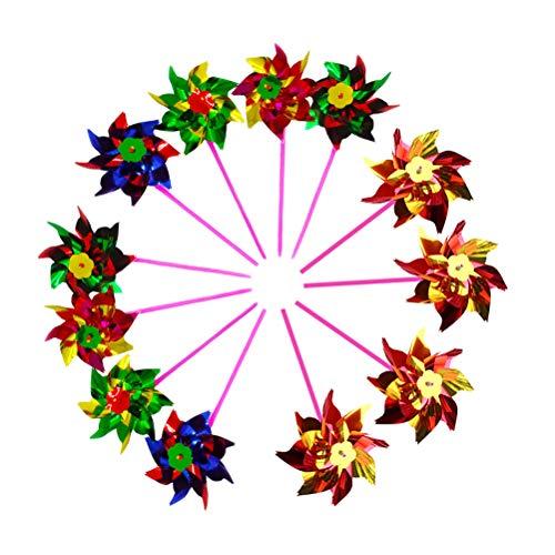 Toyvian Petit Jouet de Moulin à Vent Jouet coloré Moulin à Vent pour Enfants 12pcs (Couleur aléatoire)