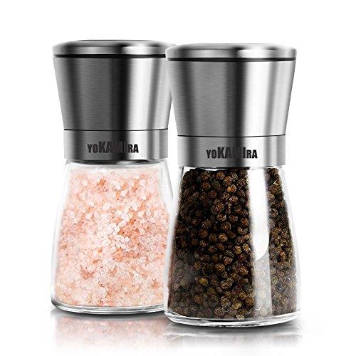 petit un compact Moulin manuel à poivre et à sel Yokamira, 2 salières et poivrières en acier inoxydable et en verre…