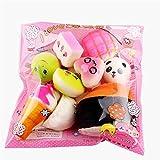 TMEOG Comida Squishy Slow Rising Kawaii Mini Tostadas Donuts Pan Panda Llavero del teléfono Strap Charm Regalo de Juguete para niños (10 Pcs)