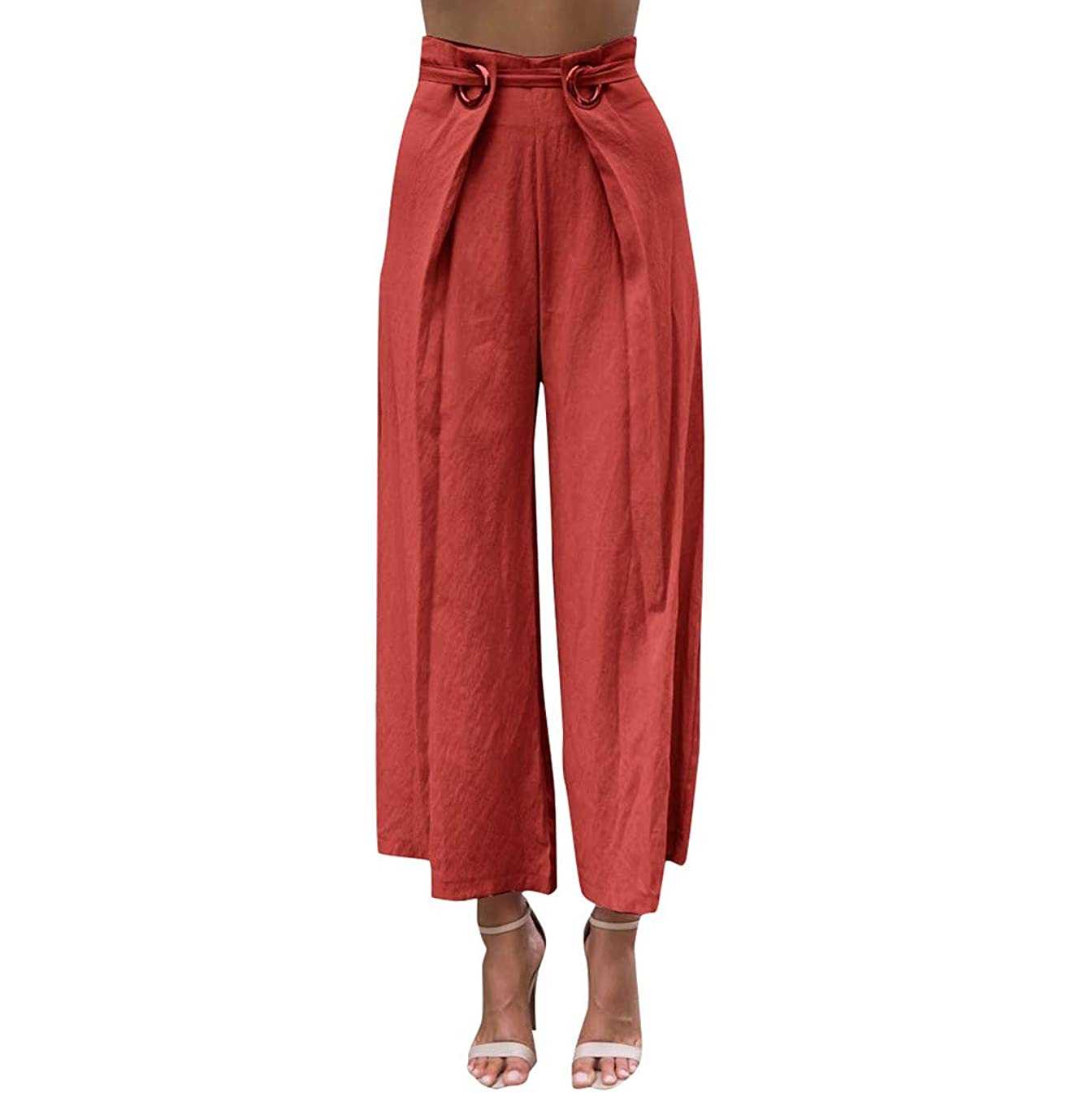 Women's Wide Leg Palazzo Pants Lace up Elastic Tie Waist Pant Soft Breathable Casual Loose Casual Trousers with Pockets
