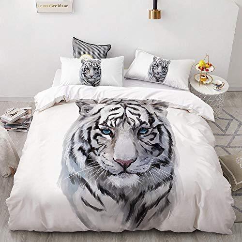 Revvsovs Bedding Sets for Children, Children's Bedding, Cartoon animal white tiger, 3-Piece Bedding Set with Chain Zip and Pillowcase, Microfibre Duvet Cover for Girls Boys, (Single size 135 x 200