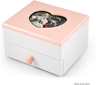 Adorable 18 Note Matte White with Pink Heart Shaped 5X3 Photo Frame Musical Jewelry Box - Jack and Jill