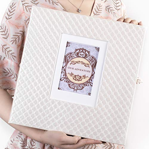 13x13 Photo Album Scrapbook Large Sticky Pages Self Adhesive 4x6 5x7 8x10 Fit Any Size of Photos Stamps Tickets with DIY Cut-Out Window Beige 30 Sheets-White