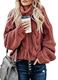 BLENCOT Women Turtleneck Chunky Cable Knitted Sweater Long Sleeve Loose Pullover Jumper, A-red, 10/12 UK