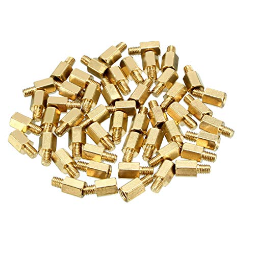 uxcell 46pcs M3 6+4mm Female Male Thread Brass Hex Standoff Spacer Screws PCB Pillar