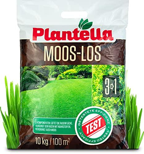Plantella Moos-los 3-in-1 Rasendünger mit Moosvernichter, 10 kg | lüftet, versorgt Rasen mit Nährstoffen, beseitigt Moos