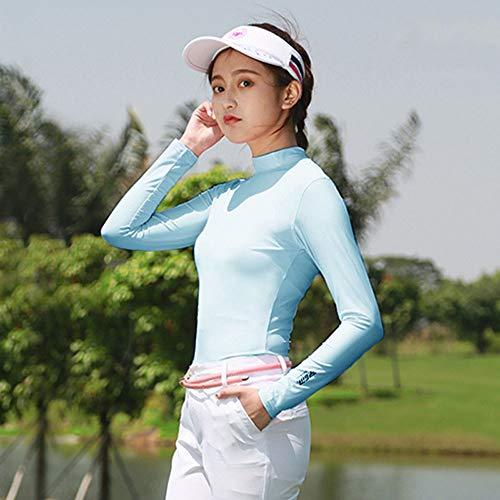 Mhwlai Camiseta de Golf para Mujer, Camiseta de Manga Larga con protección Solar para Verano, compresión Solar, Ropa Deportiva Delgada, Talla S-XXL,Azul,L