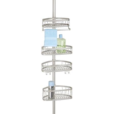 mDesign Estantería para ducha en acero con sistema telescópico – Repisa para baño para fijar sin taladrar – Baldas para baño para colocar champú, ...