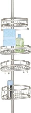 mDesign Estantería para Ducha en Acero con Sistema telescópico – Repisa para baño para Fijar sin taladrar – Baldas para baño para Colocar champú, Esponja, rasuradora y Otros artículos de higiene