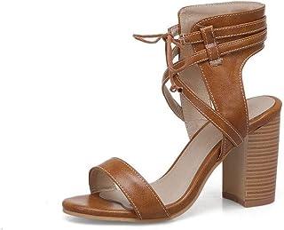 BalaMasa Womens ASL06387 Pu Block Heels