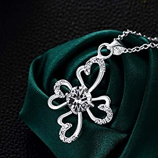 Home Fashion Silver-Plated Jewelry Micro-Inlaid Zircon Heart-Shaped Necklace (Color : White) Girls Necklace (Color : White)