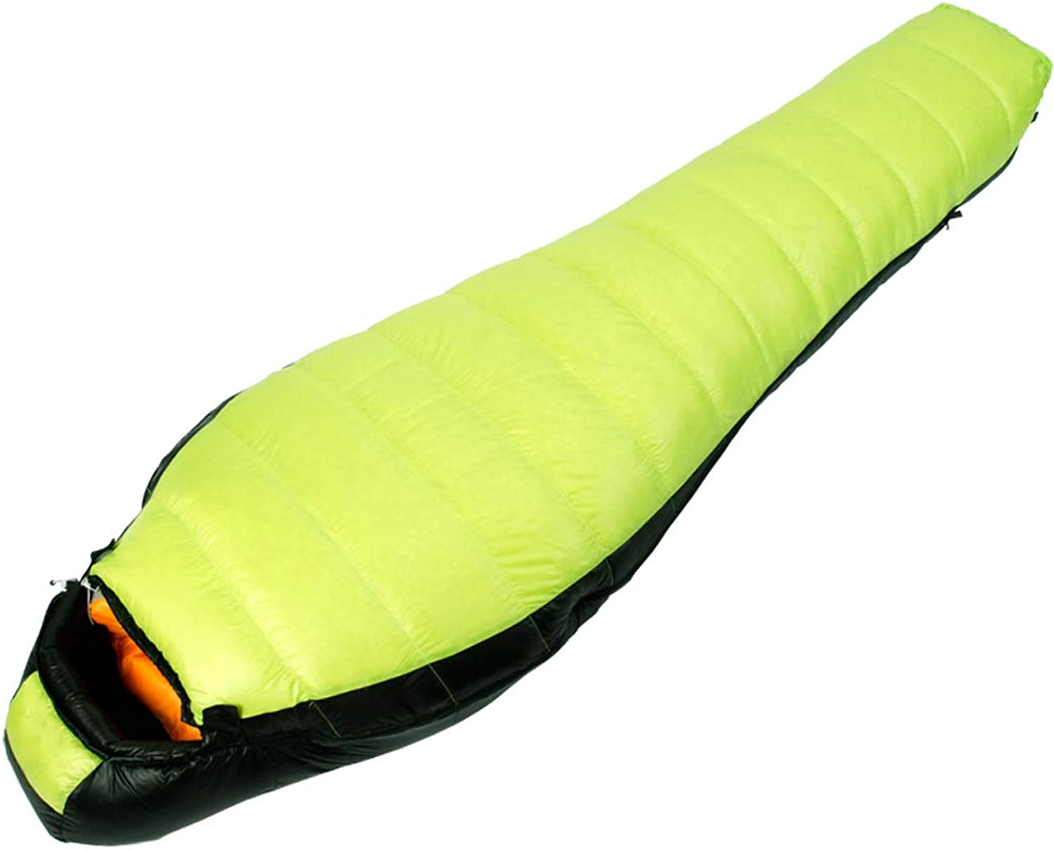 Single Sleeping Bag mummified Travel Sleeping Bag Suitable for 15 ° C Duck Down Filling Green color 220 X 80 cm 1400 g