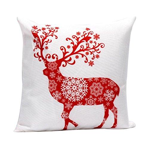 kingko® Noël taie d'oreiller 45cm * 45cm Sofa taille Throw Coussin Home Decor (C)