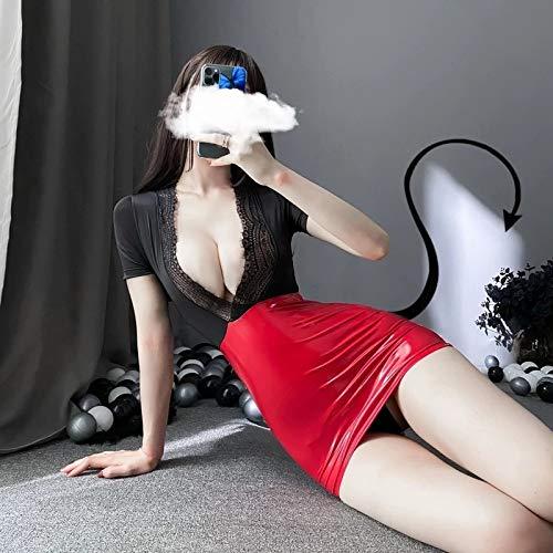 YINSHENG Vestido de lencería Sexy Delantal francés Disfraz de sirvienta Mujer Uniforme Sexy tentación Caliente OL Secretaria Vestido Ajustado Top de Encaje Minifalda de Charol Disfraz erótico de