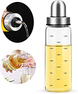Olive Oil Dispenser Bottle,Leakproof Glass Container With Cap,Non-Drip Spout,Vegetable Salad Dressing for Kitchen Cooking 10 Ounce