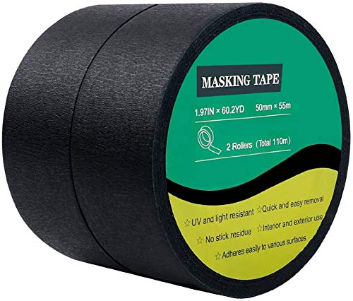 Cocoboo 2 Rolls Black Masking Tape Crepe Paper Painters Tape, 2 Inches x 60 Yards for Decorative Marking