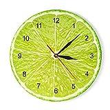 Reloj de Pared con diseño de Frutas y Limones Amarillos, Moderno, Reloj de Cocina, decoración del hogar, Reloj de salón, Frutas Tropicales, Relojes de Pared, Negro