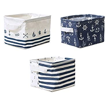Lannu Nautical Fabric Storage Baskets Bins Cloth Collapsible Organizers Box Beach Anchor Nursery Toys Basket Shelves & Desks Pack 3