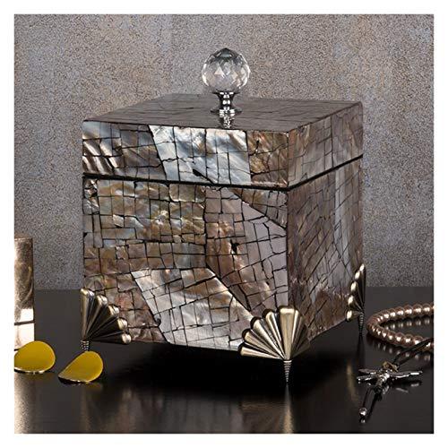 LTCTL Joyero con Tapa De Asa De Cristal Geométrica Caja Organizadora De Joyería De Concha Natural Hecha A Mano Caja De Bandeja De (Color : Jewelry Box A)