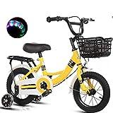 WYBD.Y Bicicleta para niños sólida para Edades de 3-9 años, Bicicleta para niños con Ruedas de Entrenamiento para Bicicleta para niños de 12 '14' 16 '18', Soporte para Bicicleta para niños, 85% ens
