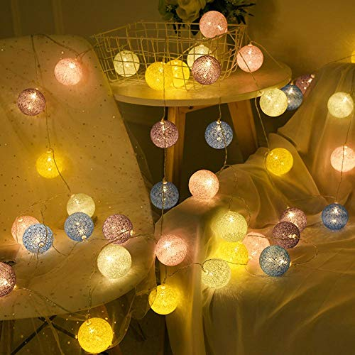Christmas Lights String Cotton line Ball Color lamp String Lights String Lights Bedroom Lighting net red Birthday Romantic Room Layout Lights.