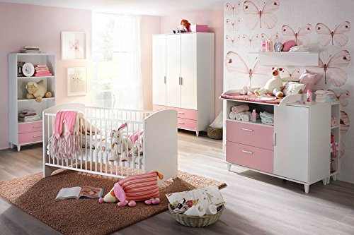 lifestyle4living Babyzimmer, Kinderzimmer, Komplett-Set, Babymöbel, Babybett, Wickelkommode, Babyausstattung, Einrichtung, Komplett, Schrank, Mädchen