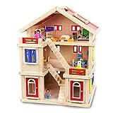 Puppenhaus Puppen Kinder Cottage Uptown Puppenstuben (Farbe : Rot, Größe : 75x56x43.5cm)