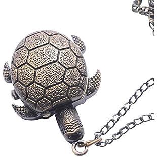 81stgeneration Women's Brass Vintage Style Tortoise Pocket Watch Chain Pendant Necklace, 78 cm