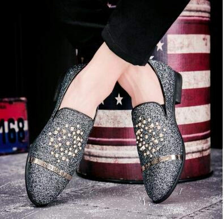 LOVDRAM Chaussures en Cuir pour Hommes Italie Styliste Hommes Rivet Métal GlisseHommest sur Décontracté Parti Respirant Chaussures De Mariage Homme Conduisant Mocassins Chausson Pantoufle
