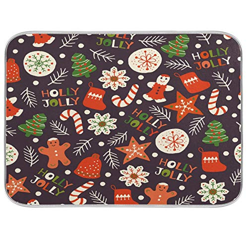 Double-sided Dish Drying Mat Winter Holiday Christmas Cookies Kitchen Counter Mat Extra Large 18 x 24 Inches,Reversible, Super Absorbent