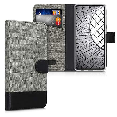 kwmobile Hülle kompatibel mit Samsung Galaxy A41 - Kunstleder Wallet Case mit Kartenfächern Stand in Grau Schwarz