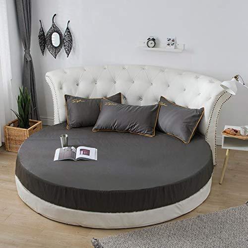 Falda de Cama de algodón, Cama Redonda, sábana, Funda Protectora de colchón, sábana de algodón Redonda, 2,0 Metros, 2,2 Metros, Ropa de Cama de jardín Gris Oscuro 2,0 m de diámetro