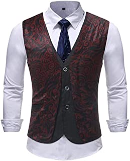 GRMO Men Regular Fit Print Fake Two Wedding Design Waistcoat Business Suit Vest