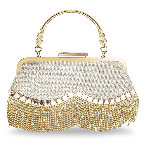 WATACHE Bling Sparkly Strass Crystal Quaste Kupplungen Abend Handtaschen Schulter Cross Body Taschen Geldbörse Brieftasche für Party Hochzeit (Gold)