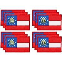 ウーブンアイロンオン州パッチ ジョージア国旗アップリケ (3 x 2インチ、12パック)
