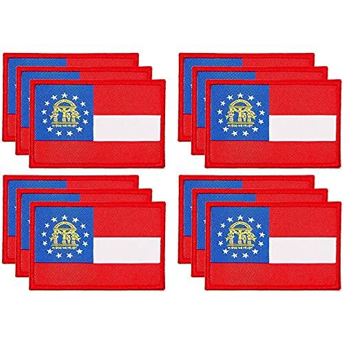 Gewebte Aufnäher zum Aufbügeln, Motiv: Flagge von Georgien, 7,6 x 5,1 cm, 12 Stück