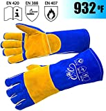 Premium Leather Welding Gloves | Heat Fire Resistant Welders Glove | Mig Welding Gloves |Oven-Grill-Fireplace-Furnace-Stove-Tig-Welder-BBQ-Coal Forge Glove | 16 inches Extra Long Sleeve Kevlar Stitch