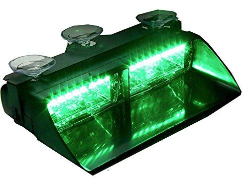 Lumières stroboscopiques d'avertissement de danger d'urgence 12V 16 LED pour pare-brise de tableau de bord intérieur avec ventouses (Vert)