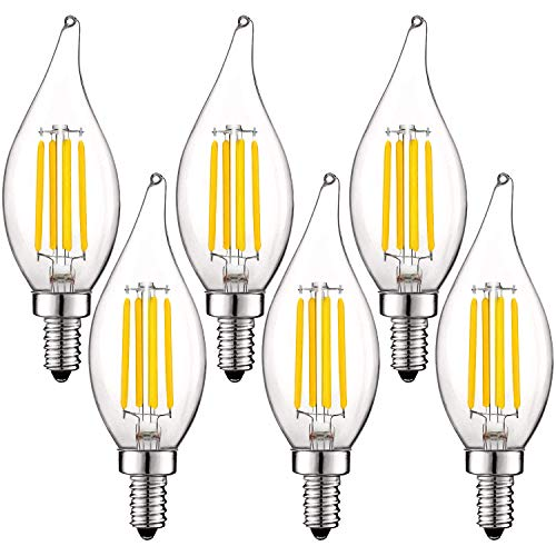 Luxrite Vintage Candelabra LED Bulb 60W Equivalent, 550 Lumens, 3000K Soft White, LED Chandelier Light Bulbs 5W, Dimmable, Flame Tip Clear Glass, Filament LED Candle Bulbs, E12 Base (6 Pack)