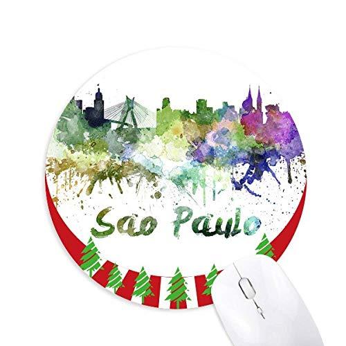 Sao Paula Brasilien City Aquarell Rund Gummi Maus Pad Weihnachtsdekoration