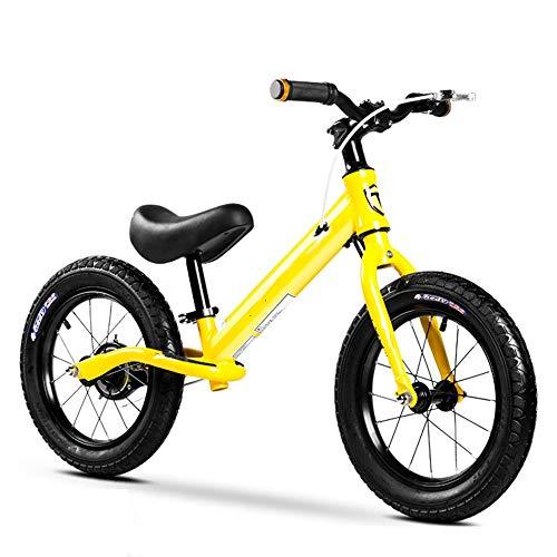 YumEIGE Loopfietsen, rubberen banden, kinderloopfiets, hoogte 43,3-54,7 bij kleine kinderen, belastbaar tot 60 kg, balansfiets 2-8 jaar, met 4 kleuren geel
