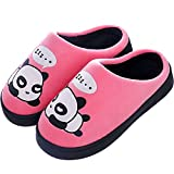 Gaatpot Donne Uomo Warm Cotone Pantofole Carine Panda Pantofole Ragazzi Ragazze Interni Antiscivolo Pantofole Scarpe di Cotone Slipper Rosa 33/34 EU = 34/35 CN