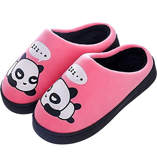 Zapatillas de Estar por Casa para Niñas Niños Otoño Invierno Zapatillas Mujer Hombres Interior Caliente Suave Dibujos Animados Panda Zapatos Rosa 27/28 EU = 28/29 CN